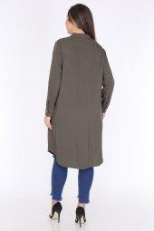 Schık Kadın Buyuk Beden Cepli Gomlek Elbise Haki 1594-2