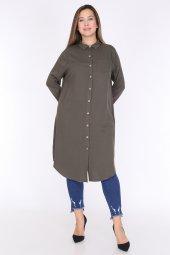 Schık Kadın Buyuk Beden Cepli Gomlek Elbise Haki 1594-3