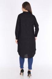 Schık Kadın Buyuk Beden Cepli Gomlek Elbise Siyah 1594-2