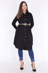 Schık Kadın Buyuk Beden Cepli Gomlek Elbise Siyah 1594-3