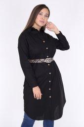 Schık Kadın Buyuk Beden Cepli Gomlek Elbise Siyah 1594-4