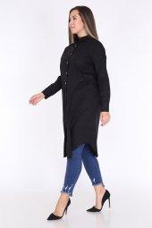 Schık Kadın Buyuk Beden Cepli Gomlek Elbise Siyah 1594-5