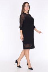 Schık Kadın Büyük Beden Tül Detaylı Elbise Siyah 1595-3