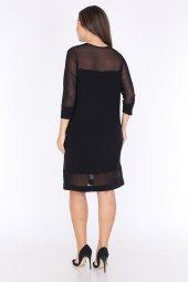 Schık Kadın Büyük Beden Tül Detaylı Elbise Siyah 1595-4