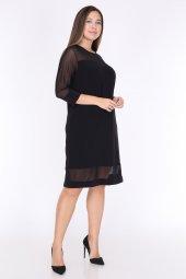Schık Kadın Büyük Beden Tül Detaylı Elbise Siyah 1595-5