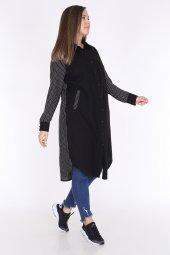 Schık Kadın Büyük Beden Çizgili Gömlek Elbise Siyah 1596-2