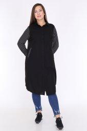 Schık Kadın Büyük Beden Çizgili Gömlek Elbise Siyah 1596-3