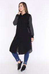 Schık Kadın Büyük Beden Çizgili Gömlek Elbise Siyah 1596-4
