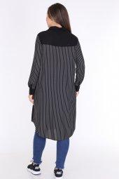 Schık Kadın Büyük Beden Çizgili Gömlek Elbise Siyah 1596-5
