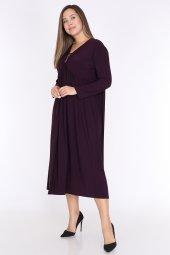 Schık Kadın Büyük Beden Elbise Mürdüm 1597-2