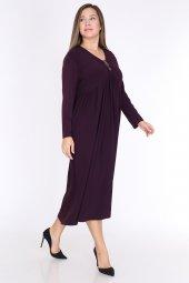 Schık Kadın Büyük Beden Elbise Mürdüm 1597-3