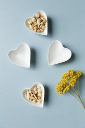 Seramik Kalp Desenli 4 Lü Servis Ve Sunum Tabağı