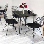 Mermer Desenli Masa Takımı, 70x70cm, 4 Sandalyeli
