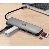 Bix Macbook Uyumlu Type C To 3x Usb3.0+Sd Card+ Micro Sd Card ENT-3