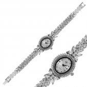 çiçekli Zirkon Bayan Pirmoda Gümüş Saat