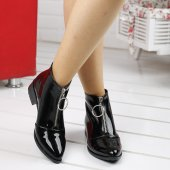 Ayakland 622 Günlük Fermuarlı Bayan Rugan Bot Ayakkabı SİYAH-5