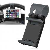Araç Oto İçi Kelepçeli Direksiyon Telefon Tutucu Sabitleyici (Siyah)