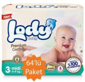 Lody Baby - 3 Numara Midi Bebek Bezi - 64lü Paket 4-9 Kg
