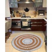 El Yapımı Canlı Renklerle Yuvarlak Halı- Yıkanabilir Salon Banyo Mutfak Halısı-3