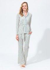 Dagi Kadın Gömlek Uzun Kol Pijama Takımı Dgk12520 Ekru Sarı