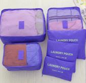 Seyahat Çantası Çanta Düzenleyici 6 Parça Çanta Seti Mor Renk