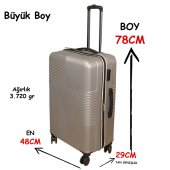 3 Lü Set Abs Poli Karbon Kırılmaz Valiz Bavul Büyük+orta+Kabin  Seyahat Çantası -5