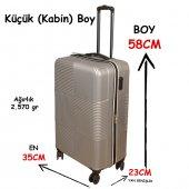 3 Lü Set Abs Poli Karbon Kırılmaz Valiz Bavul Büyük+orta+Kabin  Seyahat Çantası -6