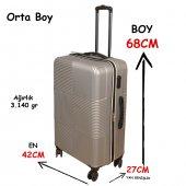 3 Lü Set Abs Poli Karbon Kırılmaz Valiz Bavul Büyük+orta+Kabin  Seyahat Çantası -7