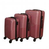 3 Lü Set Abs Poli Karbon Kırılmaz Valiz Bavul Büyük+orta+Kabin  Seyahat Çantası -9