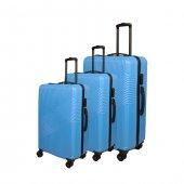 3 Lü Set Abs Poli Karbon Kırılmaz Valiz Bavul Büyük+orta+Kabin  Seyahat Çantası -11