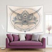 Lotus Çiçekli Mandala Desen Lacivert Duvar Örtüsü