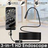 Endoskop 3 İn 1 Yılan Kamera Usb Micro Usb Type C Uyumlu 2m Sert