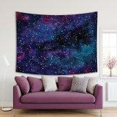 Galaksi Yıldızlı Gökyüzü Desen Lacivert Mor Duvar Örtüsü