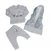 Kız Bebek Kapşonlu 3lü Takım