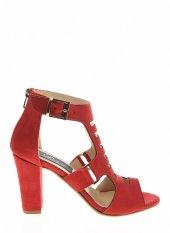 20332Kırmızı Süet Bayan Topuklu Ayakkabı-2