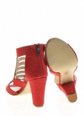20332Kırmızı Süet Bayan Topuklu Ayakkabı-3