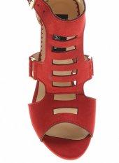 20332Kırmızı Süet Bayan Topuklu Ayakkabı-4