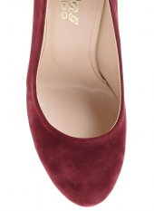 2818192BORDO SÜET BAYAN Klasik Topuklu Ayakkabı-4