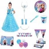 Frozen Elsa Simli Kostüm Kısa Kollu Tarlatanlı...