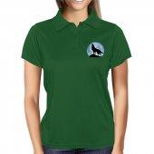 Uluyan Kurt Kısa Kollu Polo Yaka Yeşil Bayan Tişört