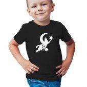 Uluyan Kurt Kısa Kollu Siyah Çocuk Tişört