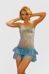 Yeniyıl Özel Mavi Tül Gecelik Takımı Fantazi Giyim (Gizli Pkt)
