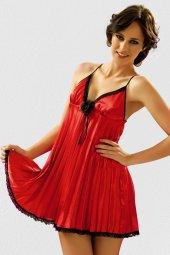 Yeniyıl Özel Yeniyıl Özel Giyim Saten Gecelik Takım Kırmızı Tasarım (Gizli Pkt)