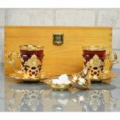 Gold Varaklı Çay Seti Özel Ahşap Kutusunda