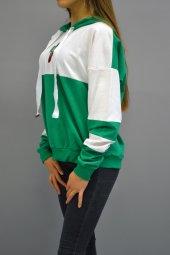 Kapüşonlu Salaş Yeşil Sweathirt-2