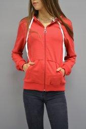 Fermuarlı Kapüşonlu Kırmızı Sweatshirt