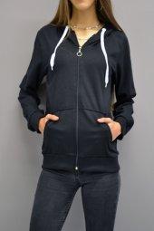 Fermuarlı Kapüşonlu Siyah Sweatshirt