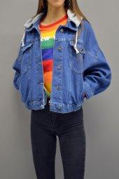 Kapüşonlu Boyfriend Kot Ceket