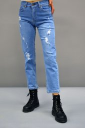 Boyfriend Mavi Yırtık Pantolon