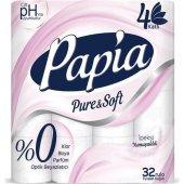 Papia Pure Soft Tuvalet Kağıdı 4 Katlı 32 Li Paket